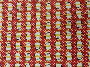 NEW! CHRISTMAS PENGUIN - Fabric 100% Cotton - Price Per Metre